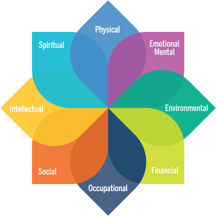 Model of well-being will each dimension: physical, emotional mental, spiritual, environmental, financial, social, intellectual, occupational